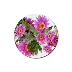 Daisies Flowers Arrangement Summer Rubber Coaster (round)  by Sapixe