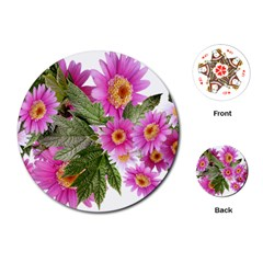 Daisies Flowers Arrangement Summer Playing Cards (round)  by Sapixe