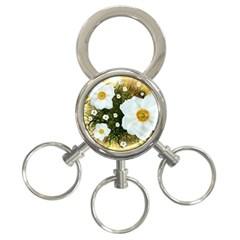 Summer Anemone Sylvestris 3 Ring Key Chains by Nexatart