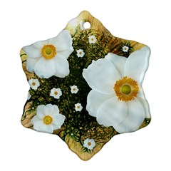 Summer Anemone Sylvestris Snowflake Ornament (two Sides) by Nexatart