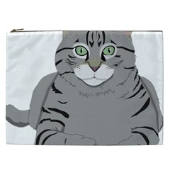 Cat Kitty Gray Tiger Tabby Pet Cosmetic Bag (xxl)  by Sapixe
