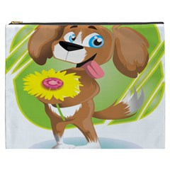 Dog Character Animal Flower Cute Cosmetic Bag (xxxl)