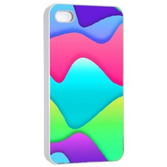 Lines Curves Colors Geometric Lines Apple Iphone 4/4s Seamless Case (white) by Nexatart