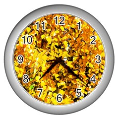 Birch Tree Yellow Leaves Wall Clock (silver) by FunnyCow