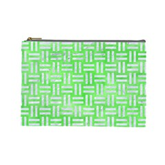 Woven1 White Marble & Green Watercolor Cosmetic Bag (large) by trendistuff
