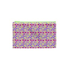 Hearts Butterflies Pink 1200 Cosmetic Bag (xs) by snowwhitegirl