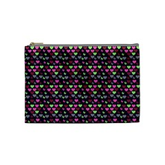 Hearts Butterflies Blue Pink Cosmetic Bag (medium) by snowwhitegirl