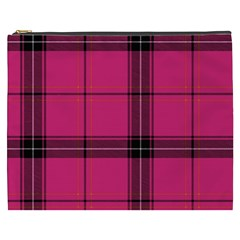 Dark Pink Plaid Cosmetic Bag (xxxl) by snowwhitegirl