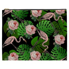 Flamingo Floral Black Cosmetic Bag (xxxl) by snowwhitegirl
