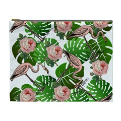 Flamingo Floral White Cosmetic Bag (xl) by snowwhitegirl