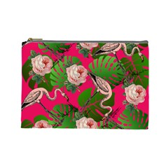 Flamingo Floral Pink Cosmetic Bag (large) by snowwhitegirl