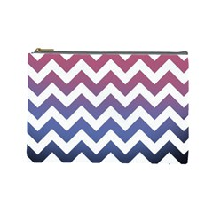 Pink Blue Black Ombre Chevron Cosmetic Bag (large) by snowwhitegirl