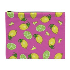 Lemons And Limes Pink Cosmetic Bag (xl) by snowwhitegirl