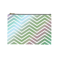 Ombre Zigzag 02 Cosmetic Bag (large) by snowwhitegirl