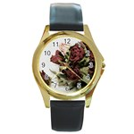 Roses 1802790 960 720 Round Gold Metal Watch
