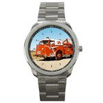 FIRE TRUCK Boys Vintage Fireman Men Sport Metal Watch