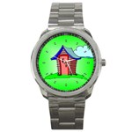OUTHOUSE Porta Potty Bathroom Boy Men Sport Metal Watch