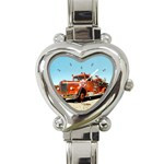 FIRE TRUCK Vintage Fireman Men Boys Heart Charm Watch
