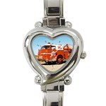 FIRE TRUCK Boys Vintage Fireman Men Heart Charm Watch