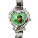 OUTHOUSE Porta Potty Bathroom Boy Men Heart Charm Watch