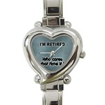 RETIREMENT Retired Over The Hill Gag Heart Charm Watch