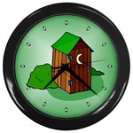 OUTHOUSE Porta Potty Bathroom Boy Men Wall Clock
