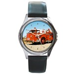 FIRE TRUCK Boys Vintage Fireman Men Round Metal Watch