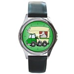 RV Travel Trailer Motorhome Camping Round Metal Watch