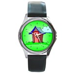 OUTHOUSE Porta Potty Bathroom Boy Men Round Metal Watch