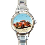 FIRE TRUCK Vintage Fireman Men Boys Round Charm Watch