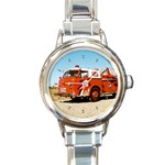 FIRE TRUCK Boys Vintage Fireman Men Round Charm Watch