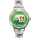 RV Travel Trailer Motorhome Camping Round Charm Watch