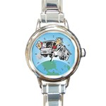 RV Camping Travel Trailer Motorhome Round Charm Watch