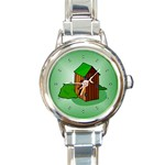 OUTHOUSE Porta Potty Bathroom Boy Men Round Charm Watch