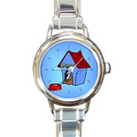 DOG HOUSE Pet Puppy Girls Women Kids Round Charm Watch