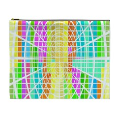 Abstract Squares Background Network Cosmetic Bag (xl)