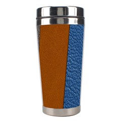 Leather Background Structure Orange Stainless Steel Travel Tumblers by Sapixe
