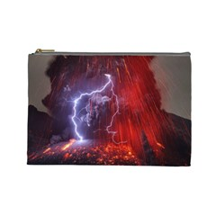 Fire Volcano Lightning Montain Wallpapers Cosmetic Bag (large) by AnjaniArt