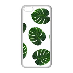 Tropical Imitation Green Leaves Hawaiian Green Apple Iphone 5c Seamless Case (white) by AnjaniArt