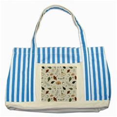 Grey Toned Pattern Striped Blue Tote Bag