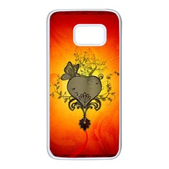 Wonderful Heart With Butterflies And Floral Elements Samsung Galaxy S7 White Seamless Case by FantasyWorld7