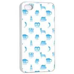 Oktoberfest Bavarian October Beer Festival Motifs In Bavarian Blue Apple Iphone 4/4s Seamless Case (white) by PodArtist