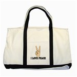 I LOVE PEACE Handbag Gifts Rare Two Tone Canvas Tote Bag