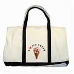 ICE CREAM Dessert Chef Love Handbag Two Tone Canvas Tote Bag