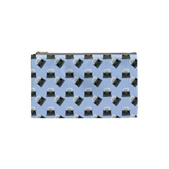 Retro Typewriter Blue Pattern Cosmetic Bag (small) by snowwhitegirl