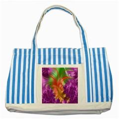 Fractal Purple Green Orange Yellow Striped Blue Tote Bag