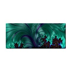 Fractal Turquoise Feather Swirl Hand Towel by Samandel