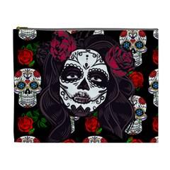 Mexican Skull Lady Cosmetic Bag (xl) by snowwhitegirl
