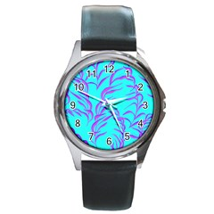 Branches Leaves Colors Summer Round Metal Watch by Simbadda