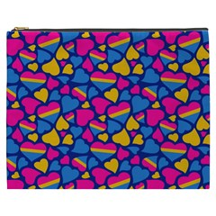 Pansexual Pride Hearts; A Cute Pan Pride Motif! Cosmetic Bag (xxxl) by PrideMarks